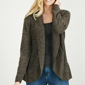 Karen Scott M Brown Turbo Cocoon Cardigan 4Z61
